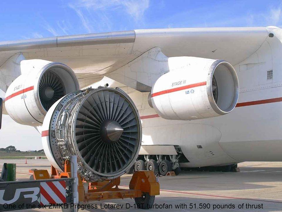 One of the six ZMKB Progress Lotarev D-18T turbofan with 51