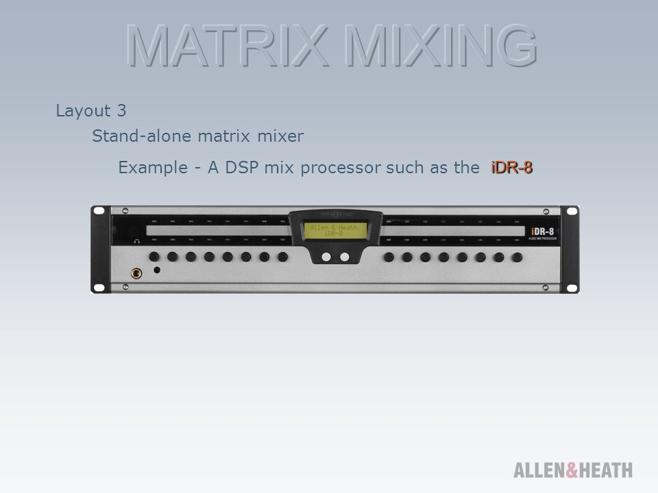 Layout 3 Stand-alone matrix mixer Example - A DSP mix processor such as the iDR-8