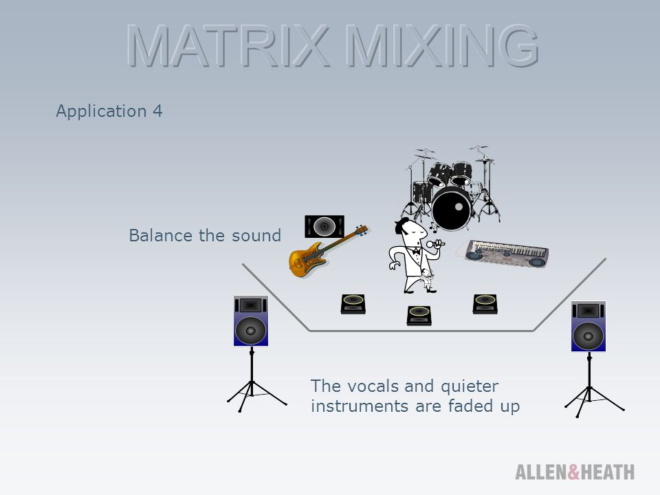 Application 4 Balance the sound The vocals and quieter instruments are faded up