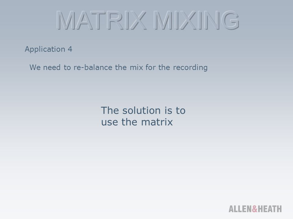 The solution is to use the matrix