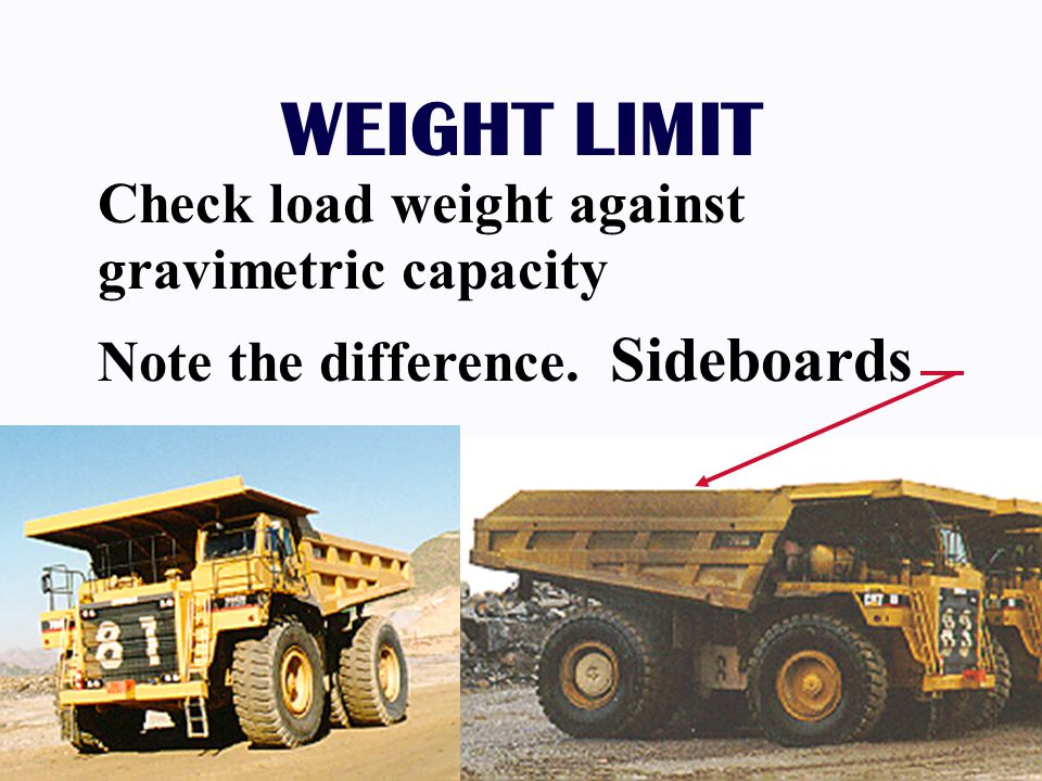 WEIGHT LIMIT Check load weight against gravimetric capacity