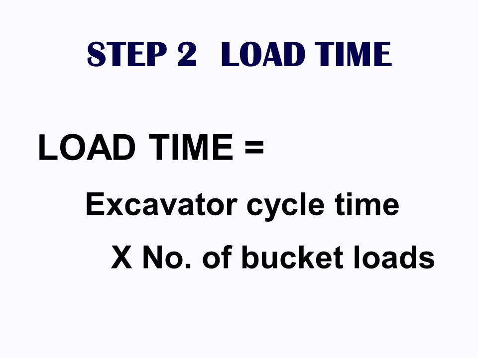 STEP 2 LOAD TIME LOAD TIME = Excavator cycle time