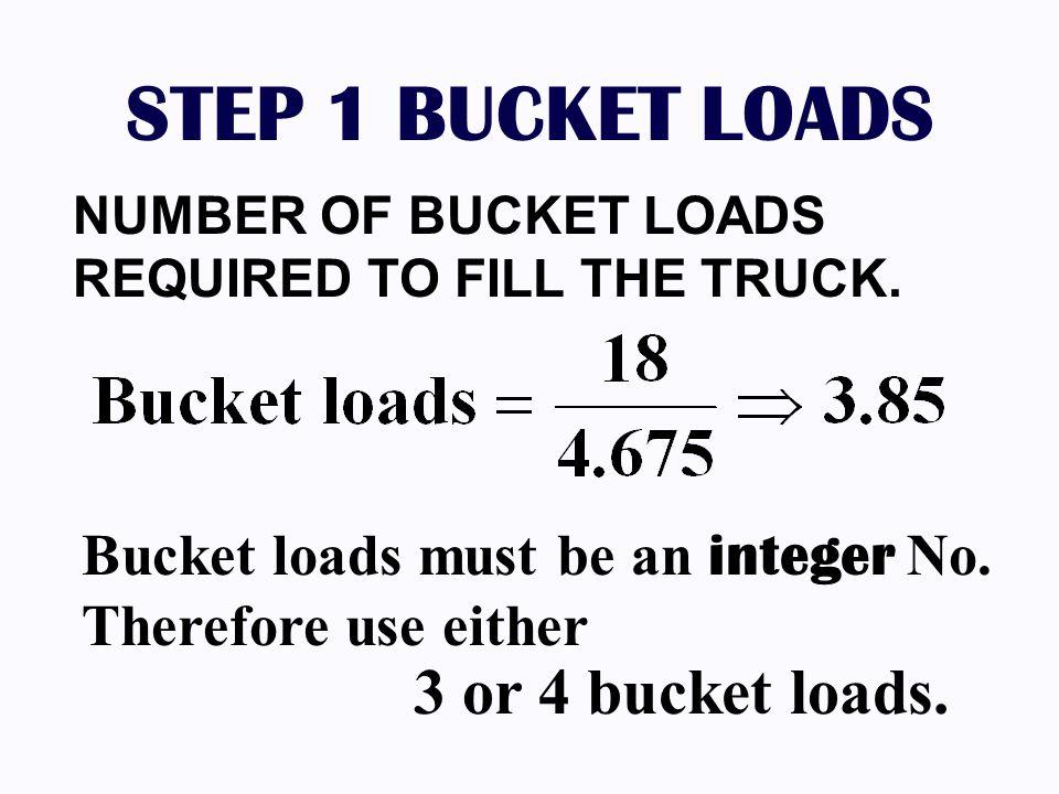 STEP 1 BUCKET LOADS Bucket loads must be an integer No.