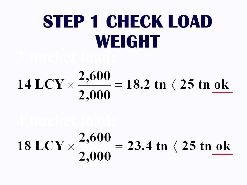 STEP 1 CHECK LOAD WEIGHT 3 bucket load: 4 bucket load: