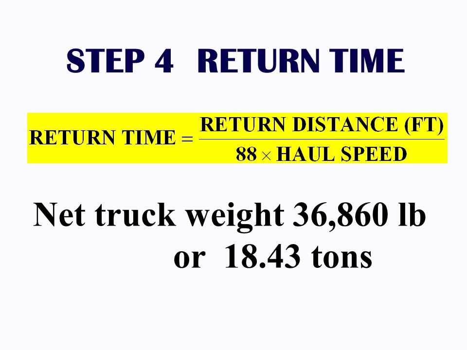 STEP 4 RETURN TIME Net truck weight 36,860 lb or 18.43 tons
