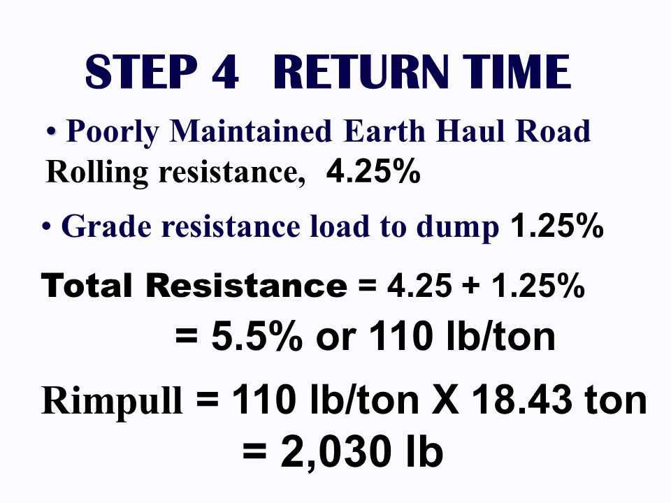 STEP 4 RETURN TIME Rimpull = 110 lb/ton X 18.43 ton = 2,030 lb