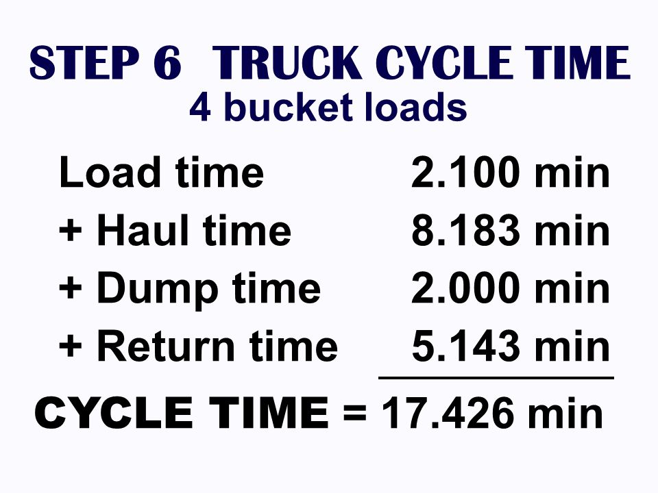 STEP 6 TRUCK CYCLE TIME Load time 2.100 min + Haul time 8.183 min
