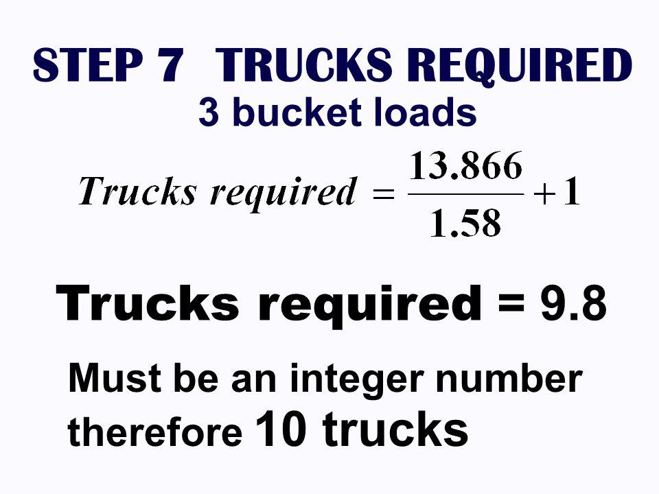 STEP 7 TRUCKS REQUIRED 3 bucket loads