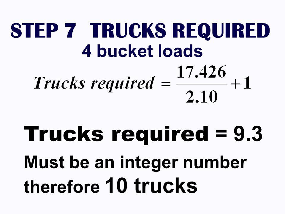 STEP 7 TRUCKS REQUIRED 4 bucket loads