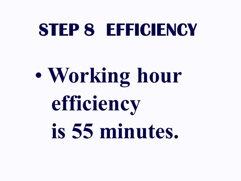 Working hour efficiency is 55 minutes. STEP 8 EFFICIENCY