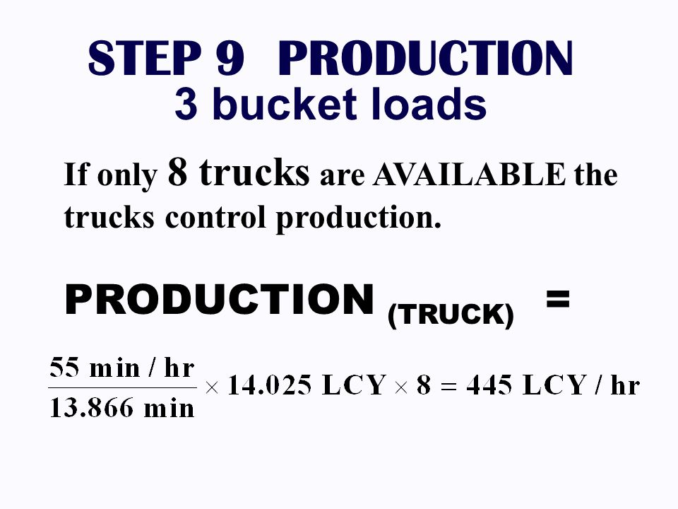 STEP 9 PRODUCTION 3 bucket loads PRODUCTION (TRUCK) =
