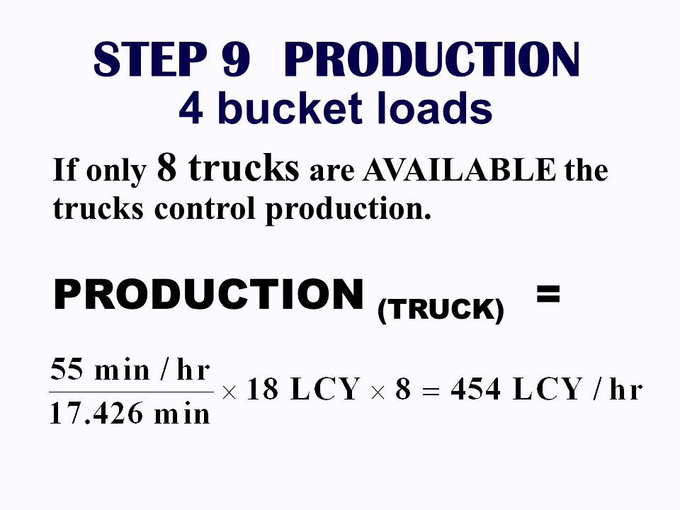 STEP 9 PRODUCTION 4 bucket loads PRODUCTION (TRUCK) =