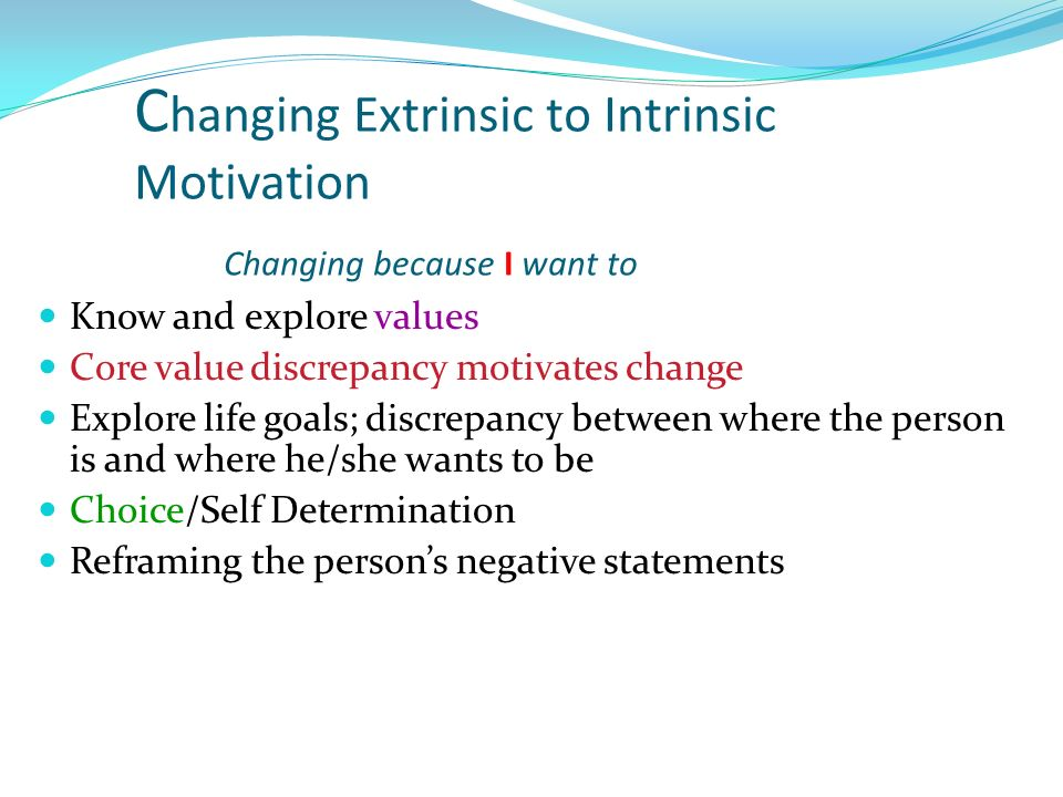Changing Extrinsic to Intrinsic Motivation Changing because I want to