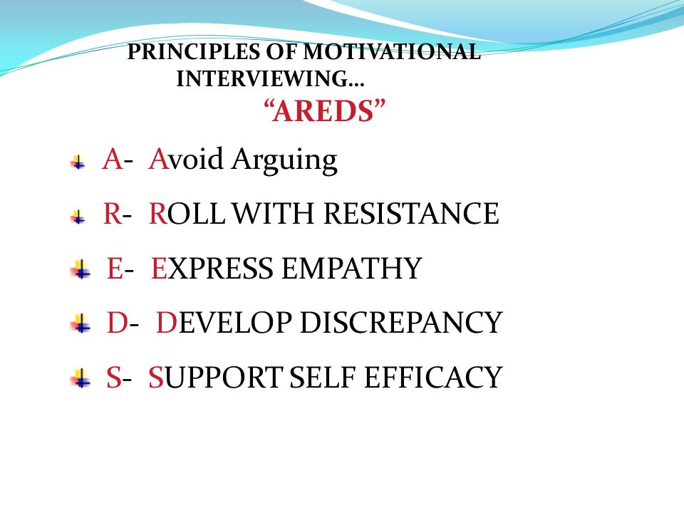 D- DEVELOP DISCREPANCY S- SUPPORT SELF EFFICACY