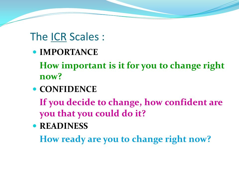 The ICR Scales : IMPORTANCE