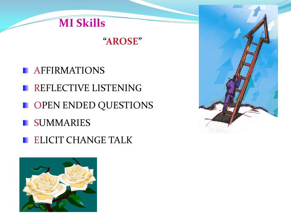 MI Skills AROSE AFFIRMATIONS REFLECTIVE LISTENING