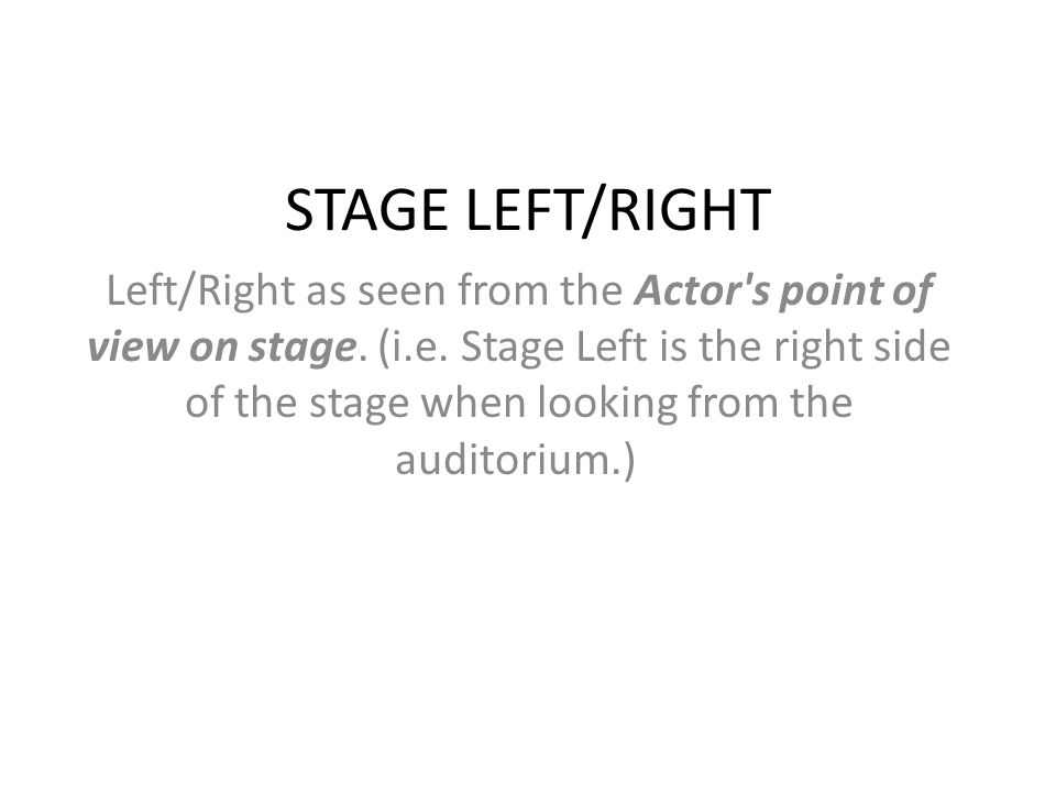 STAGE LEFT/RIGHT