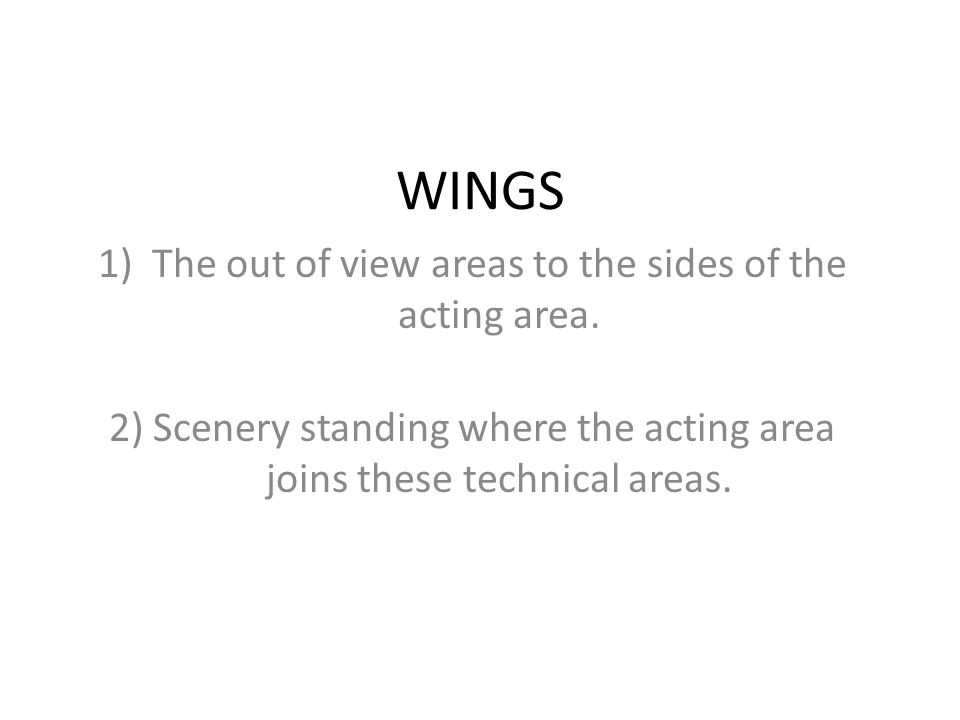 WINGS The out of view areas to the sides of the acting area.