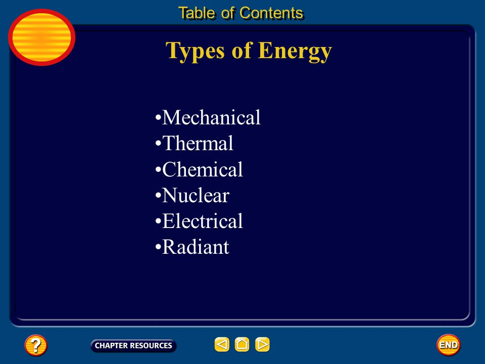 Types of Energy Mechanical Thermal Chemical Nuclear Electrical Radiant