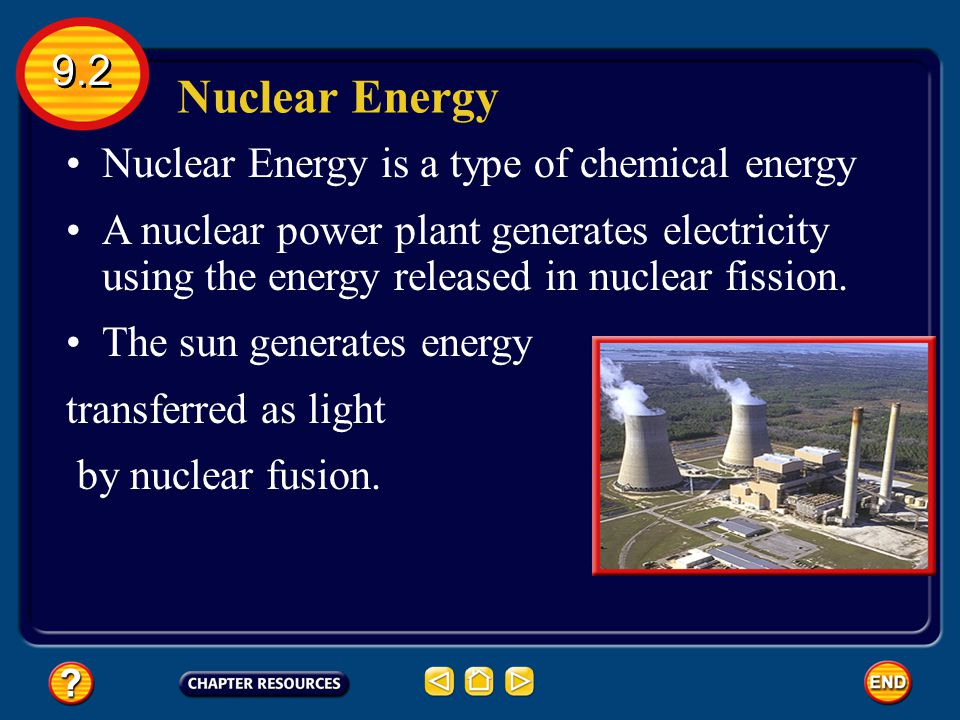 Nuclear Energy 9.2 Nuclear Energy is a type of chemical energy