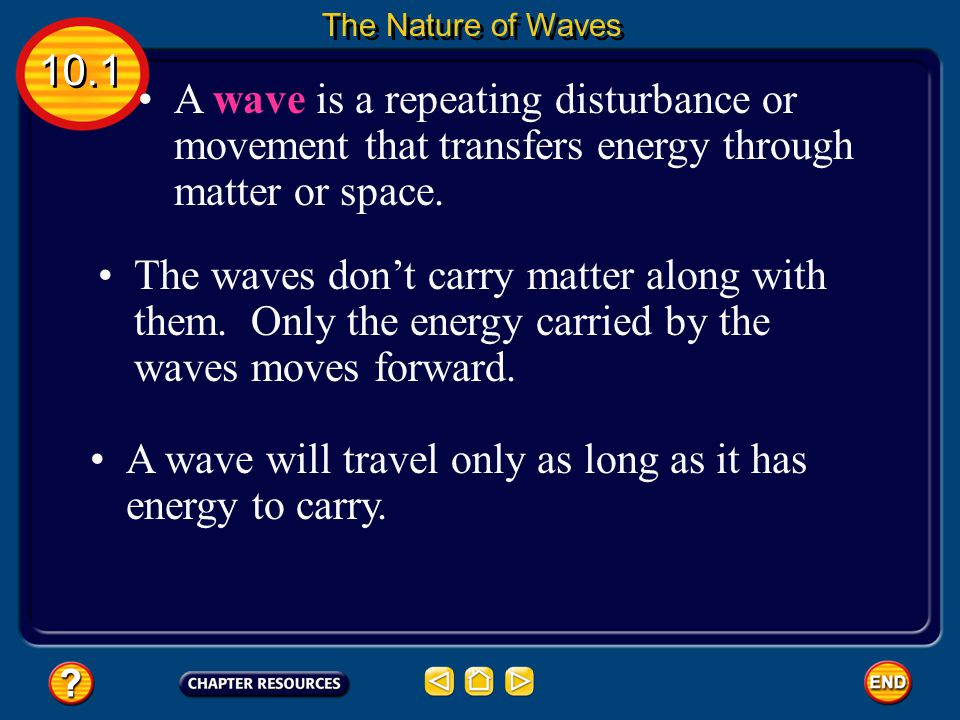 A wave will travel only as long as it has energy to carry.