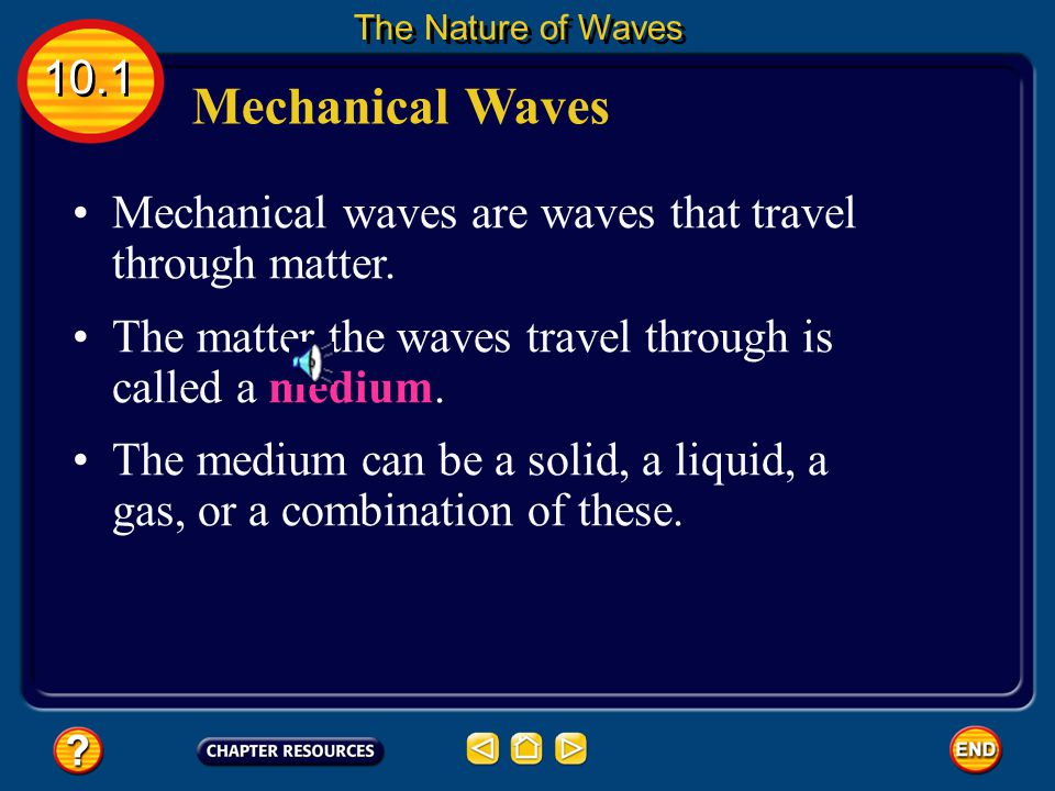 The Nature of Waves 10.1. Mechanical Waves. Mechanical waves are waves that travel through matter.