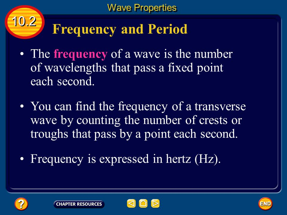 Wave Properties 10.2. Frequency and Period. The frequency of a wave is the number of wavelengths that pass a fixed point each second.