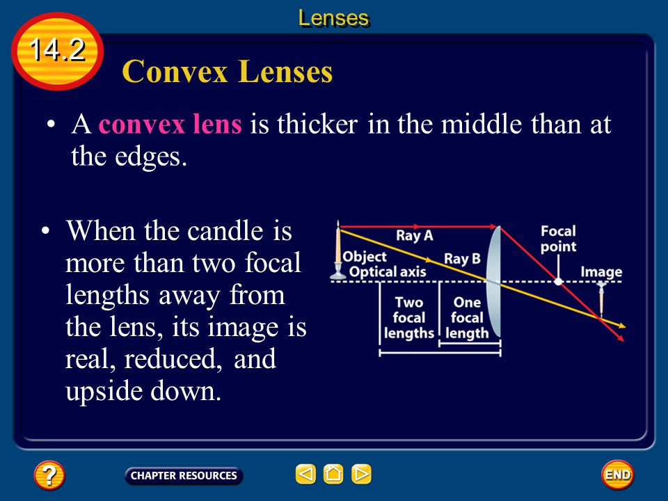 Lenses 14.2. Convex Lenses. A convex lens is thicker in the middle than at the edges.