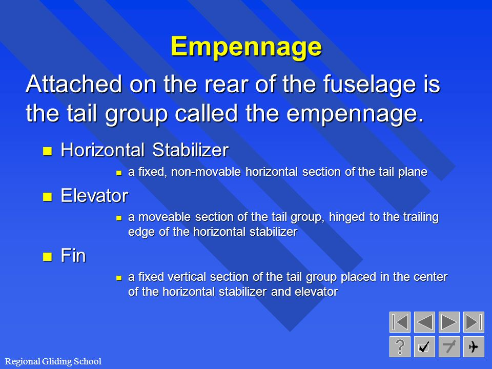 Empennage Attached on the rear of the fuselage is the tail group called the empennage. Horizontal Stabilizer.