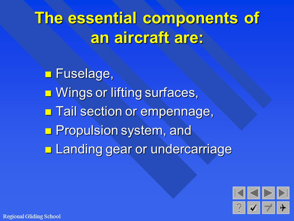 The essential components of an aircraft are: