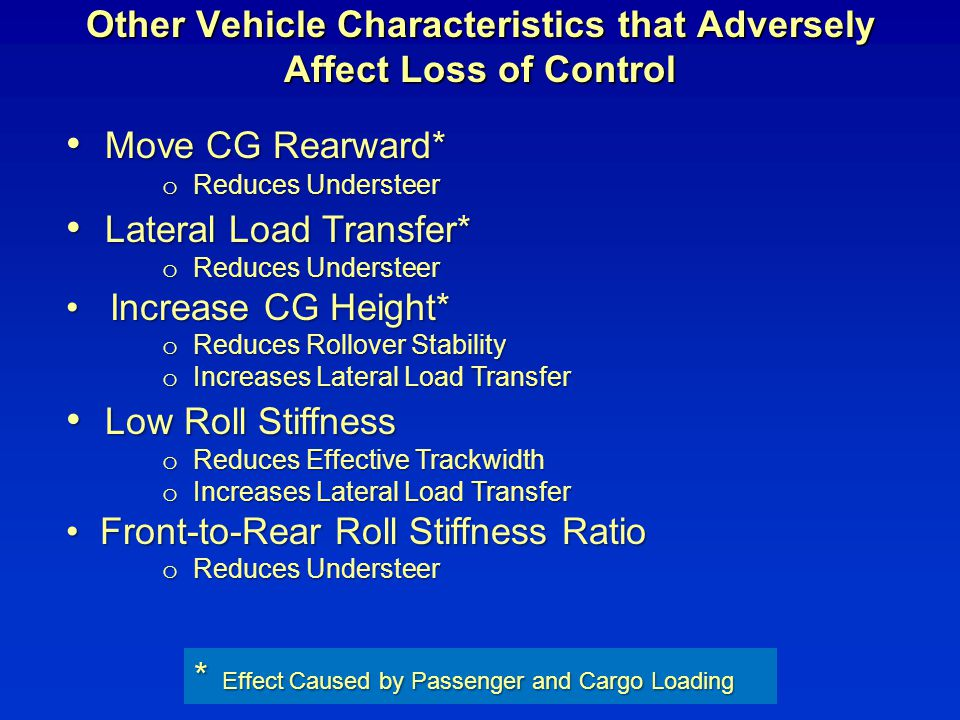 Other Vehicle Characteristics that Adversely Affect Loss of Control