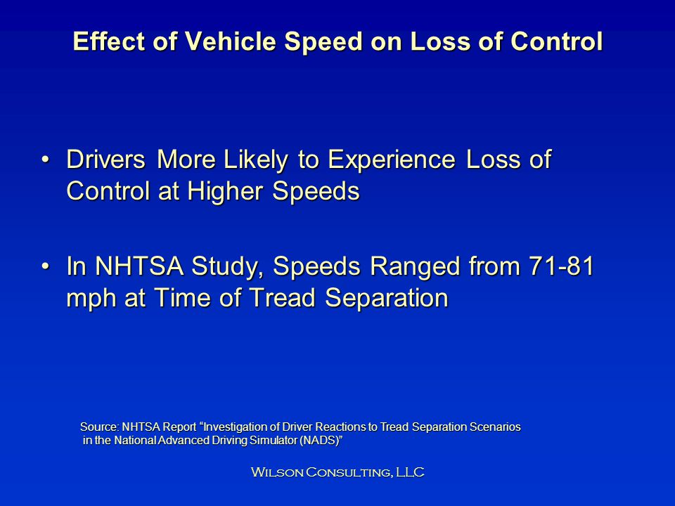 Effect of Vehicle Speed on Loss of Control