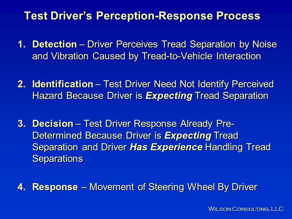 Test Driver's Perception-Response Process