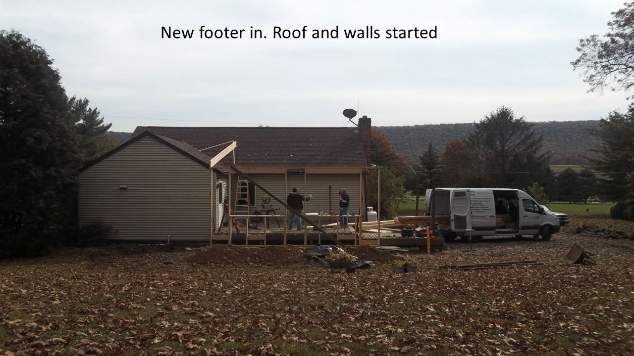 New footer in. Roof and walls started