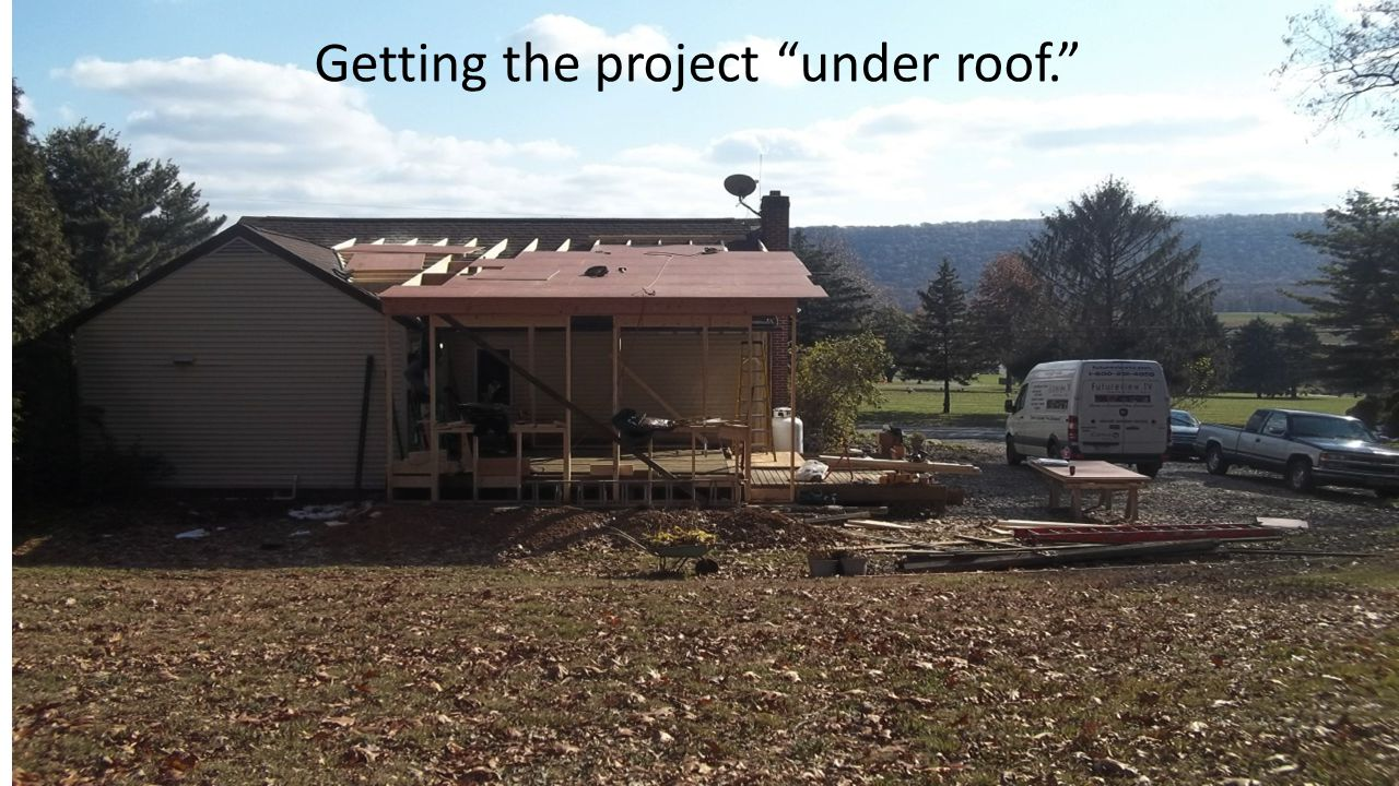 Getting the project under roof.