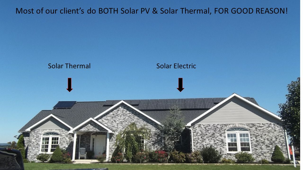 Most of our client's do BOTH Solar PV & Solar Thermal, FOR GOOD REASON!