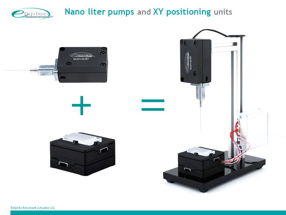 Nano liter pumps and XY positioning units