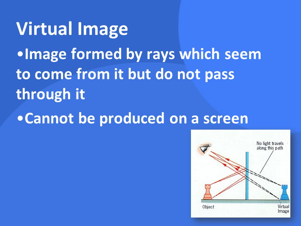 Virtual Image Image formed by rays which seem to come from it but do not pass through it.