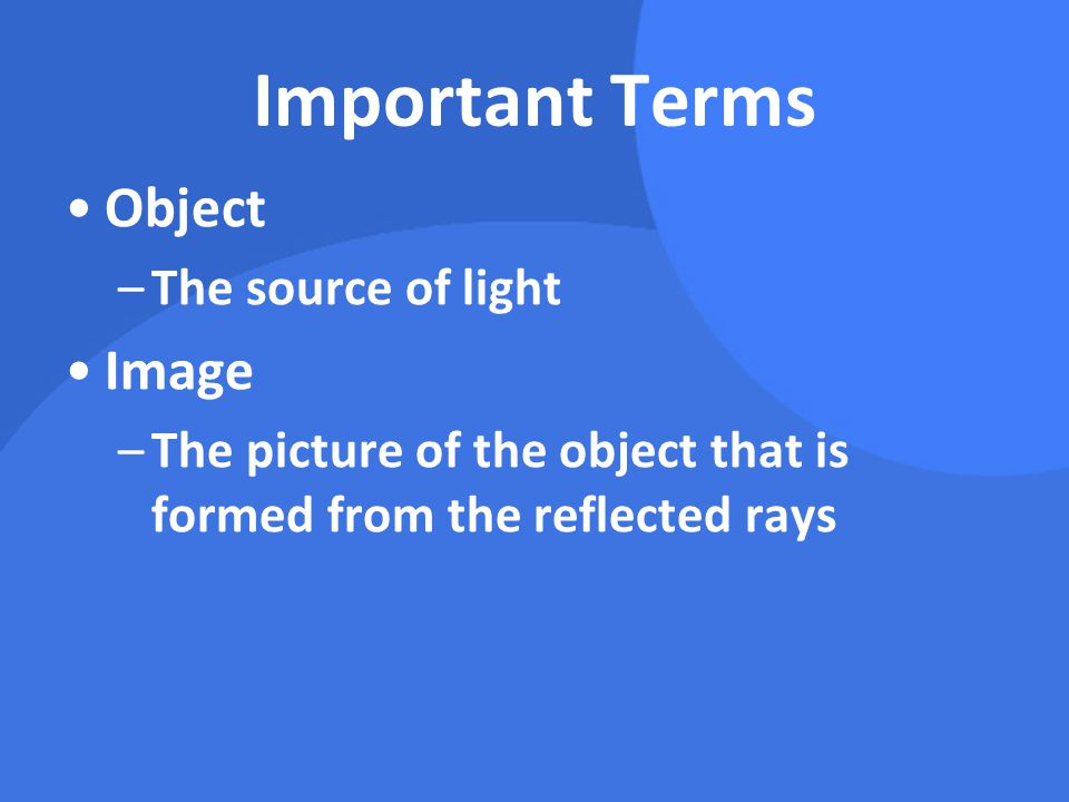 Important Terms Object Image The source of light