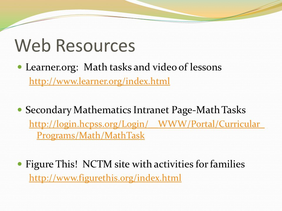 Web Resources Learner.org: Math tasks and video of lessons