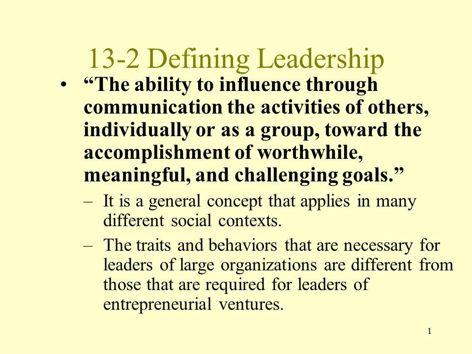 13-2 Defining Leadership