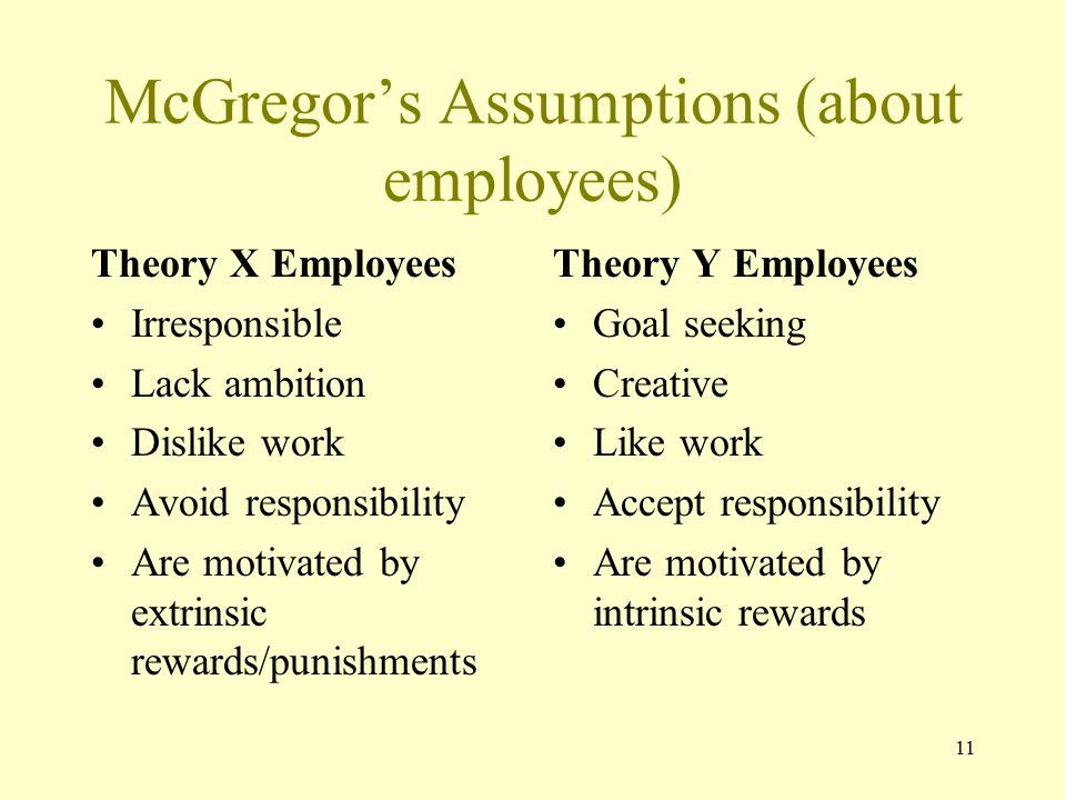 McGregor's Assumptions (about employees)