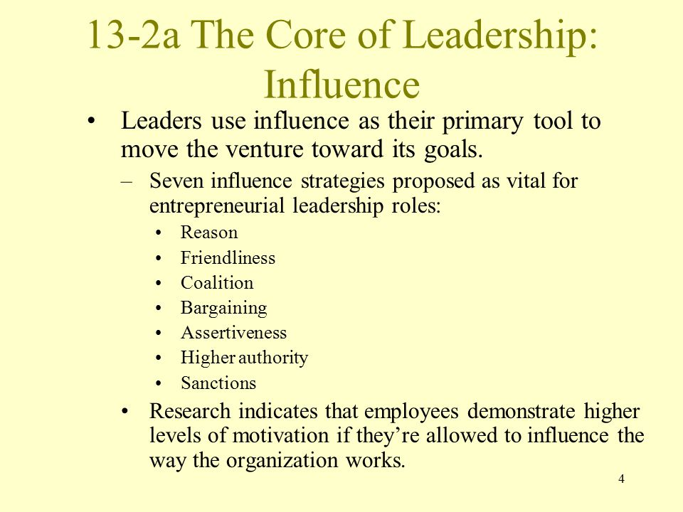 13-2a The Core of Leadership: Influence