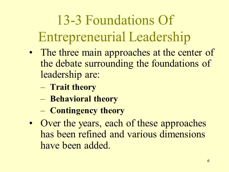 13-3 Foundations Of Entrepreneurial Leadership