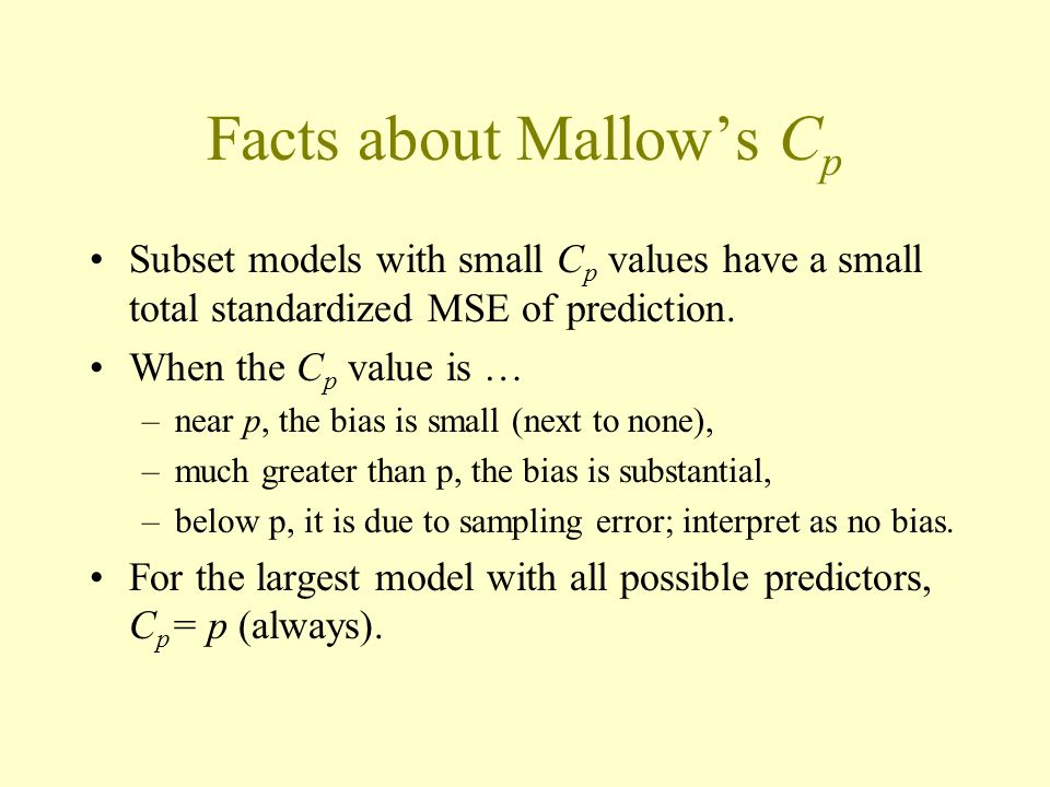 Facts about Mallow's Cp