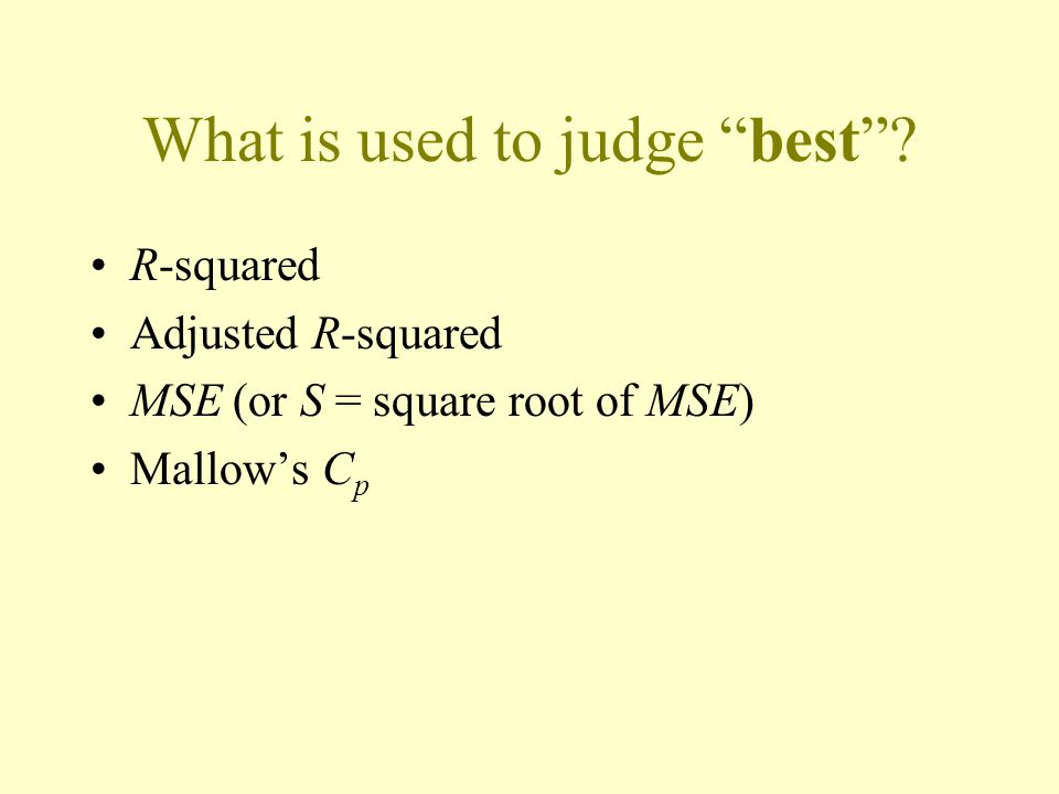 What is used to judge best