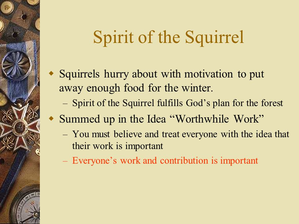 Spirit of the Squirrel Squirrels hurry about with motivation to put away enough food for the winter.