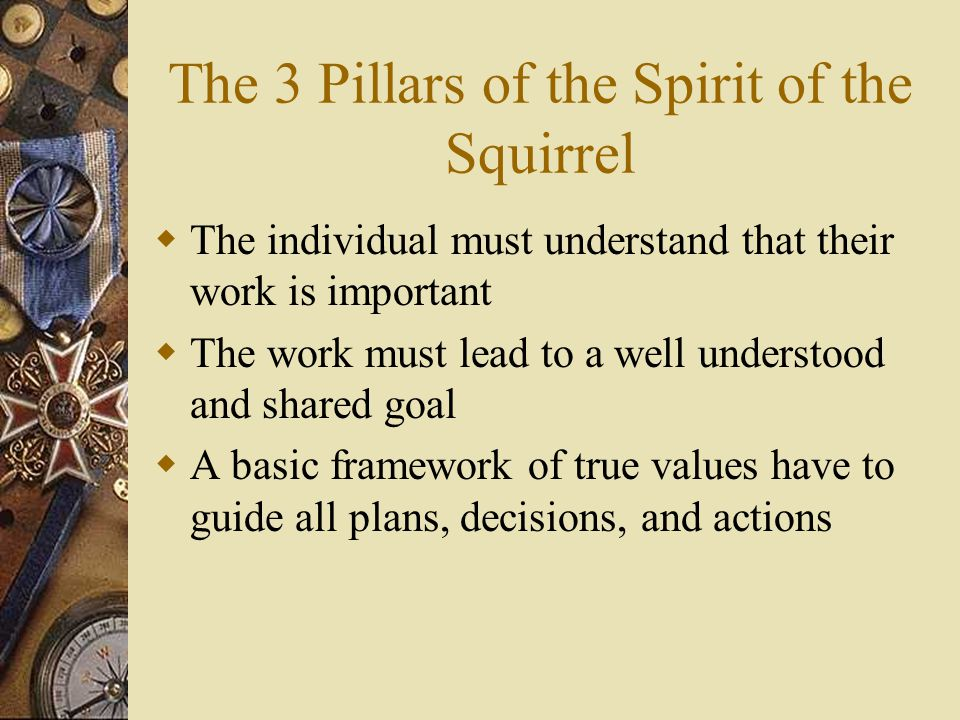 The 3 Pillars of the Spirit of the Squirrel