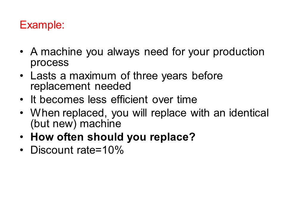 Example: A machine you always need for your production process. Lasts a maximum of three years before replacement needed.