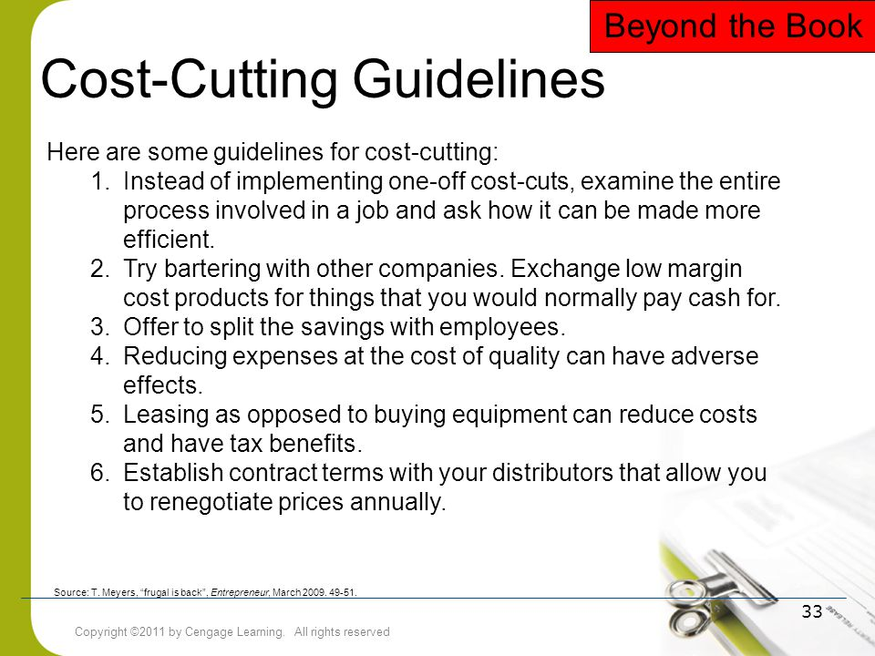 Cost-Cutting Guidelines